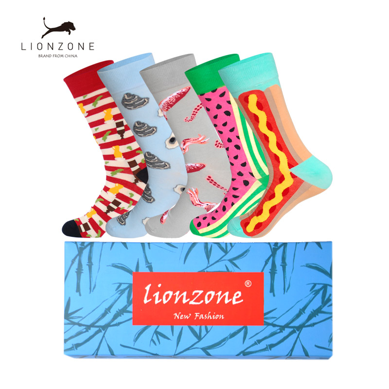 5Pairs/Lot Fruit Food Series Happy Socks Fish Shrimp Cherry Mango Watermelon Designer Novetly Cotton Funny Socks