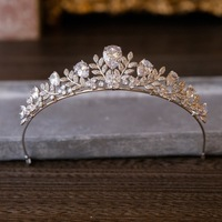 Top Quality European Baroque Rhinestone Brides Crown Zirconia Brides Tiara Leaves Crystal Hairbands Evening Hair Accessories