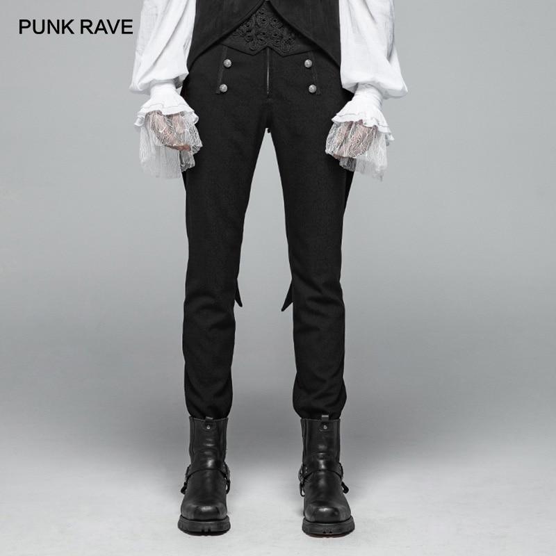 PUNK RAVE nouveau gothique Figure motif hommes pantalons noirs boutons décoration fête décontracté haute qualité militaire visuel Kei pantalon