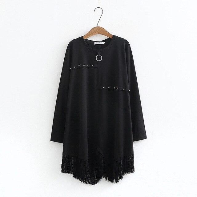 d73d4acbec Spring Autumn Sweatshirt Dress Women Casual Long Sleeve Beading Black A  Line Patchwork Tassel Dresses