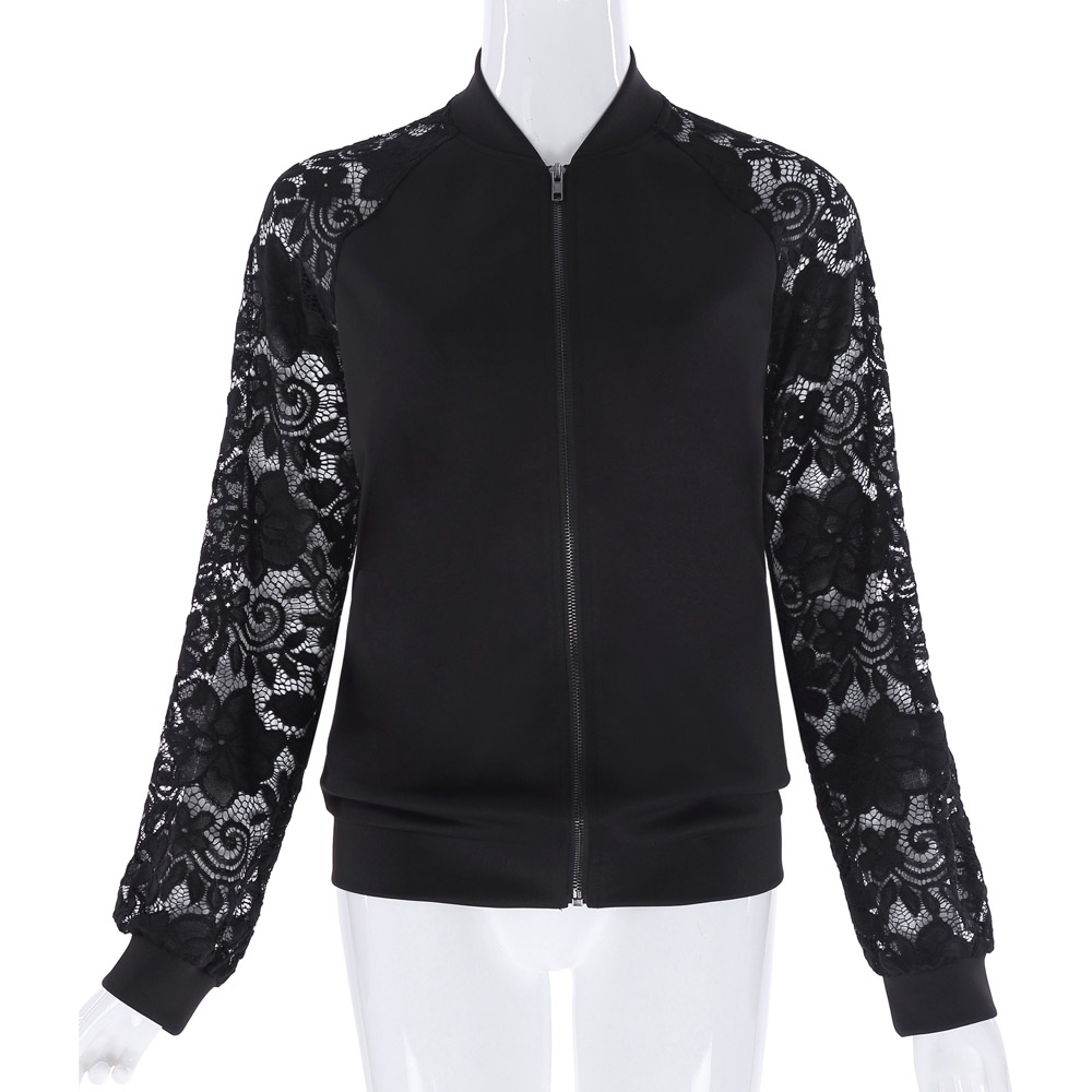 2017 New Womens Autumn Casual   Jackets   Ladies Black Lace Zipper Opening Front Stand Collar Long Sleeve   Basic     Jacket   Coat Outwear