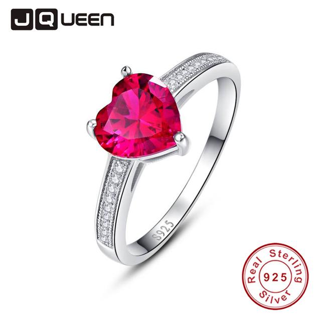 Jqueen 3ct simulado corazón rojo promesa de compromiso del anillo de bodas de rubí esterlina del sólido 925 de plata de la joyería para los amantes