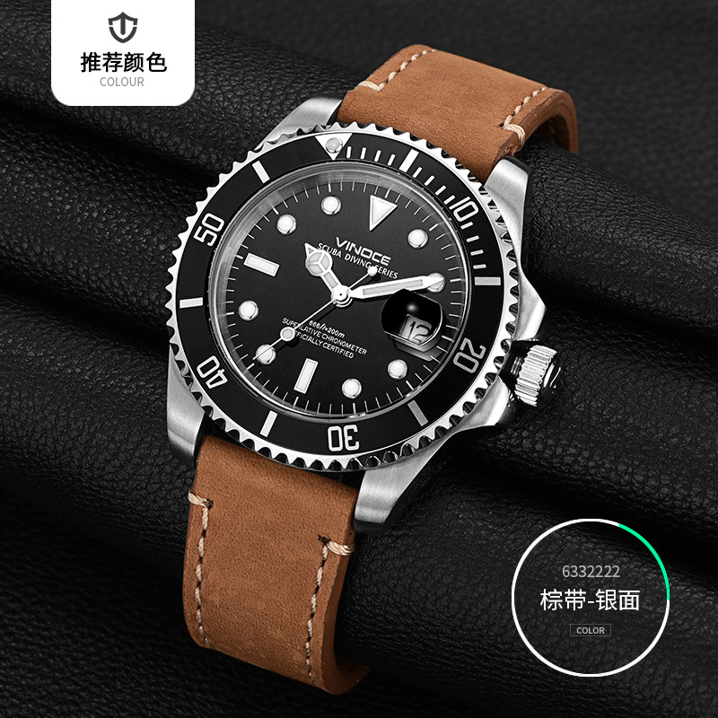 61aaeae1b329 VINOCE Brand 20Bar 200m Diving Sports Watches Men Luminous Business Leather  Men's Quartz Watch Multifunction Relogio Masculino