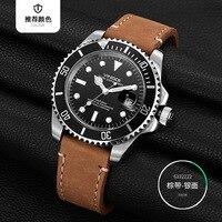 VINOCE Brand 20Bar 200m Diving Sports Watches Men Luminous Business Leather Men's Quartz Watch Multifunction Relogio Masculino