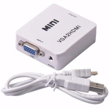 Mini VGA to HDMI Converter with Cable 1080P VGA2HDMI Adapter