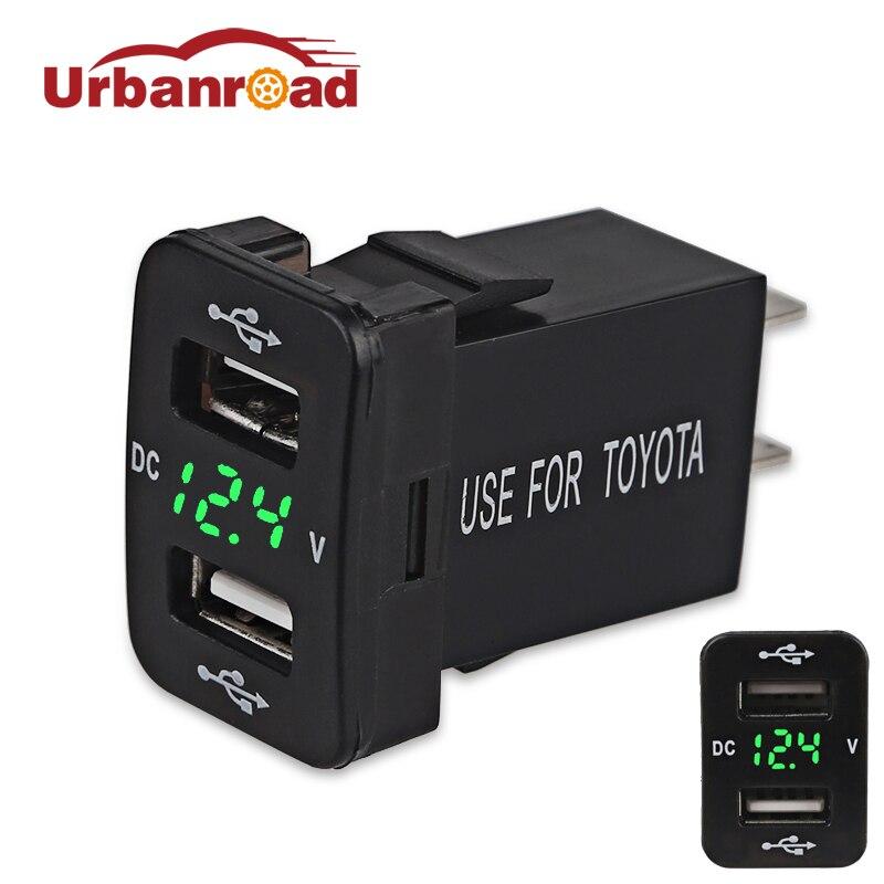 For Toyota Car USB Socket Cigarette Lighter Charger Power Adapter Outlet With Voltmeter For Toyota Cigarette Lighter Socket