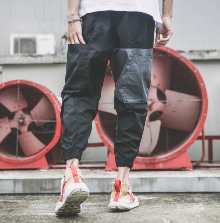 Big pocket personality fashion loose harem pants mens trousers pantalones hombre cargo feet pants for men pantalon homme black