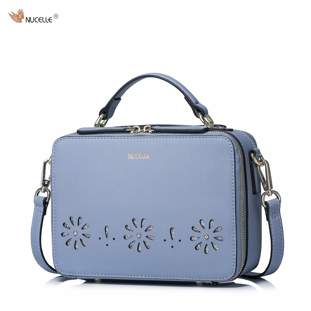 2017 NUCELLE Brand New Design Fashion Hollow Out Flowers PU Women Leather Girls Ladies Handbag Shoulder Crossbody Bags just star brand new design fashion flowers pu leather women s handbag ladies girls shoulder cross body drawstring bucket bag