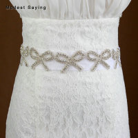 Charming Silver Sparkly Crystal Bridal Belts Bow Beaded Wedding Sashes 2018 Waistband ceinture femme strass Wedding Accessories