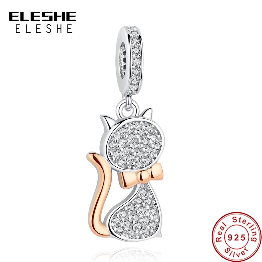 ELESHE 100 Real 925 Sterling Silver Lovely Cat Charm Beads Fit Original Pandora Bracelet Pendant Authentic