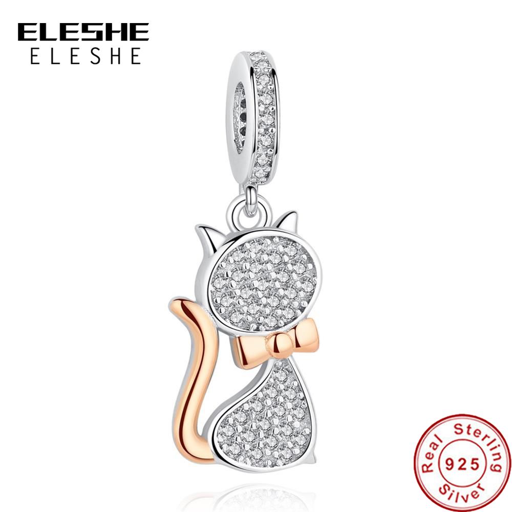 ELESHE 100 Real 925 Sterling Silver Lovely Cat Charm Beads Fit Original Pandora Bracelet Pendant Authentic