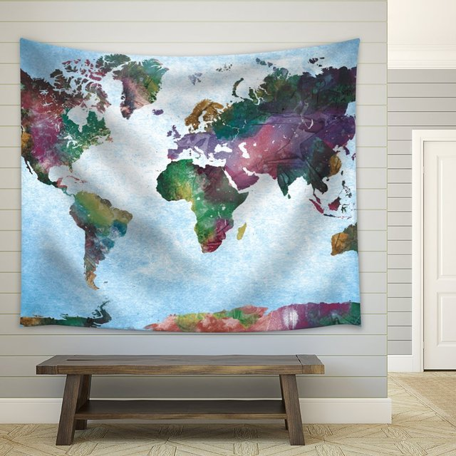 Charmhome colorful watercolor world map on a blue vignette charmhome colorful watercolor world map on a blue vignette background fabric summer tapestry blanket home decor gumiabroncs Choice Image