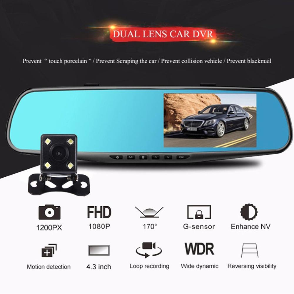 3.5 inch Car DVR Mirror Car Dvr Camera HD 1080P Rear View Mirror Digital Video Recorder Dual Lens Auto Dash Cam(China)