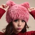 2016 Chapéus Das Mulheres Reais de Pele de Coelho Malha Inverno Gorros Beanie Chapéu Russian Femme Feminino Toucas de Inverno feminina das Mulheres chapéus