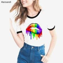 2019 summer tops fashion watercolor Rainbow Pride Lips t shirt women harajuku kawaii t-shirt femme w