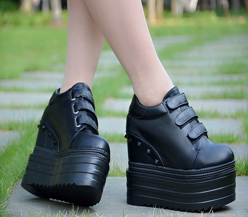 2018 new height increase women s shoes 14 cm thick bottom wedge casual shoes super high