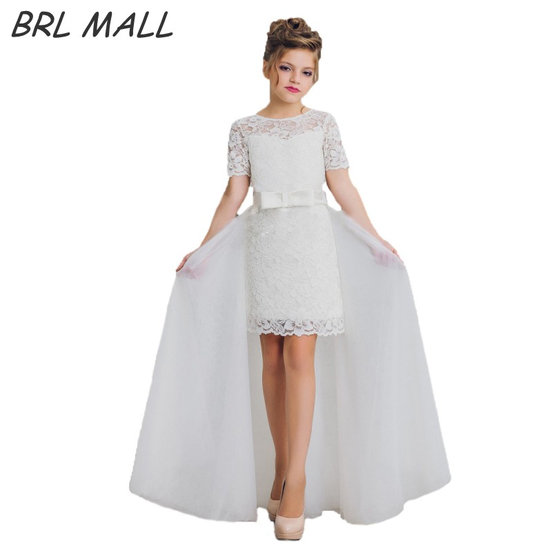 Elegant White Lace   flower     girl     dresses   for weddings with Removable Skirt Short Sleeves First communion   dresses   AB27