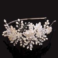 Koreanische braut hochzeit tiaras handgefertigten glasperlen haarschmuck blumen crown großhandel perle schmuck stirnband