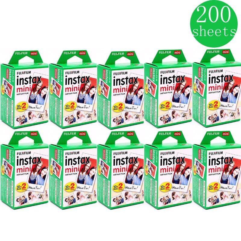 10-200 folhas fuji fujifilm instax mini 9 8 filmes de borda branca fims cor para câmera instax