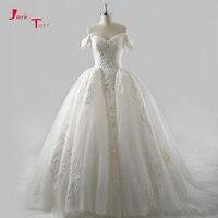 Jark Tozr Custom Made Bridal Gowns Vestido De Casamento Short Sleeve Appliques Vintage Wedding Dress 2018
