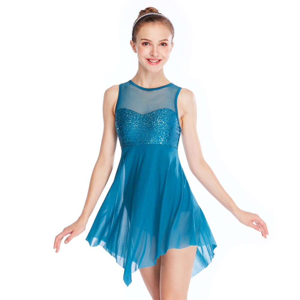 MiDee Lyrical Dance Costume Dress Illusion Sweetheart Sequins Triangle Cut Skirt 6 Colors
