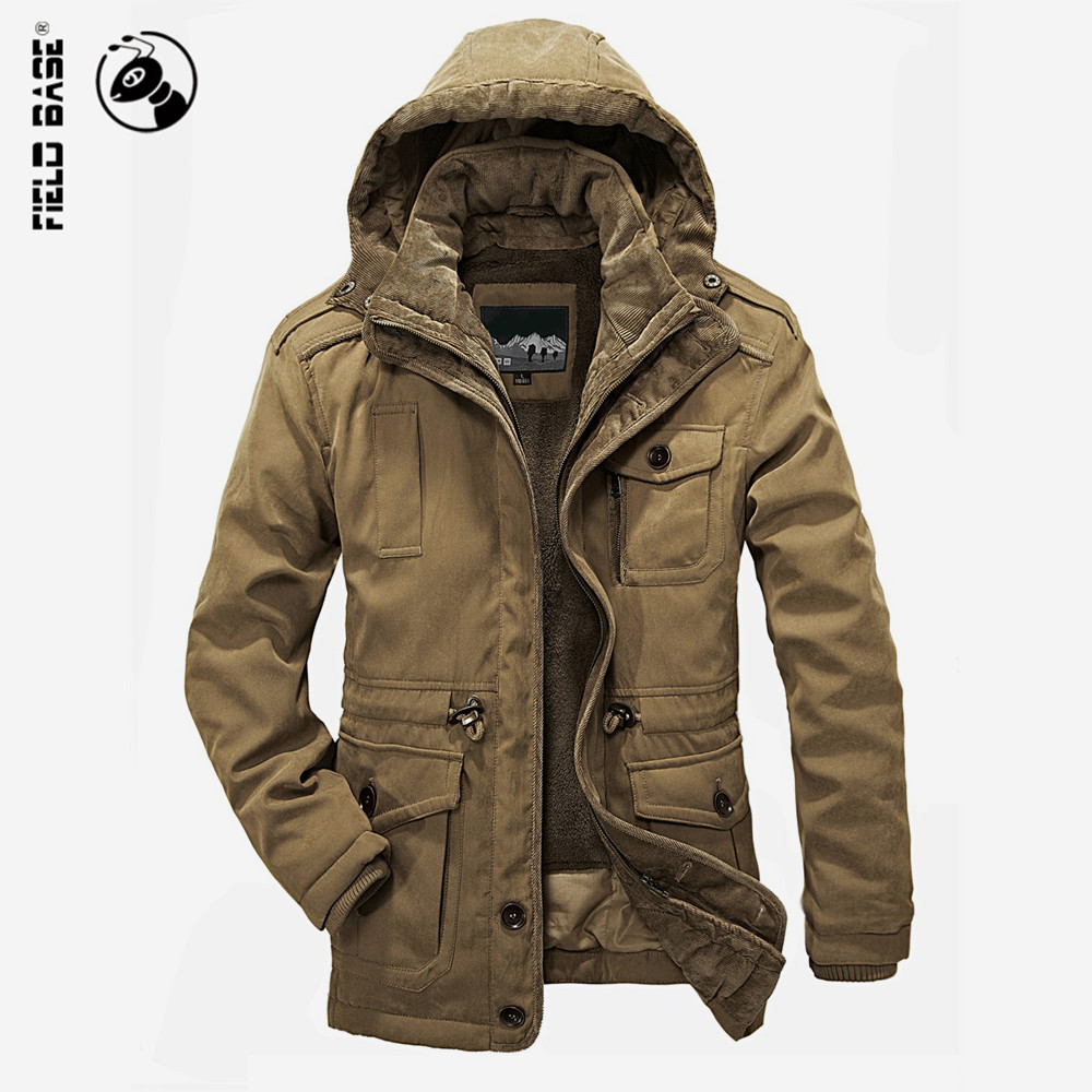 Field Base Winter Jacket For Men Windproof Solid Cotton Hooded Velvet Thick Warm Coat Male Brand Plus Size  Parkas 4XL 2016 brand clothing winter jacket men fashion design hooded thick solid cotton jacket for men warm coat size m 3xxl
