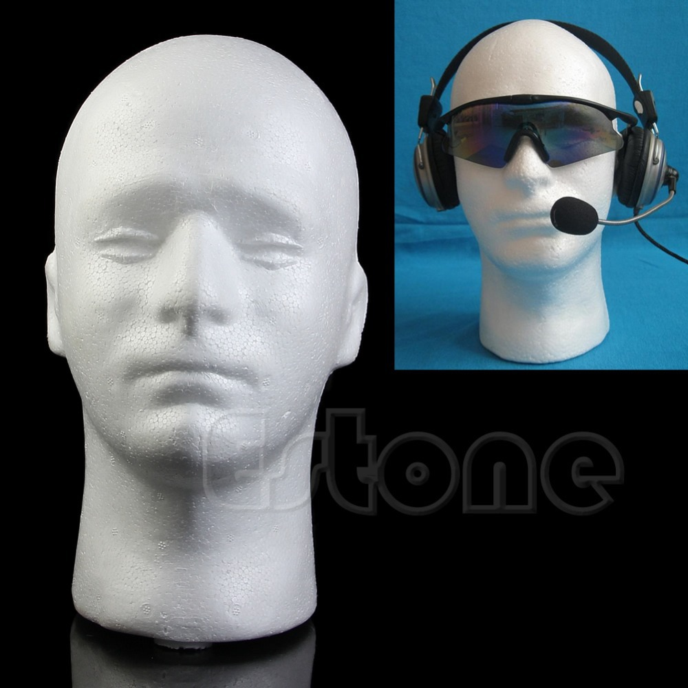 "12/"" Styrofoam Mannequin Male Head Model Dummy Wig Glasses Hat Display Stand"