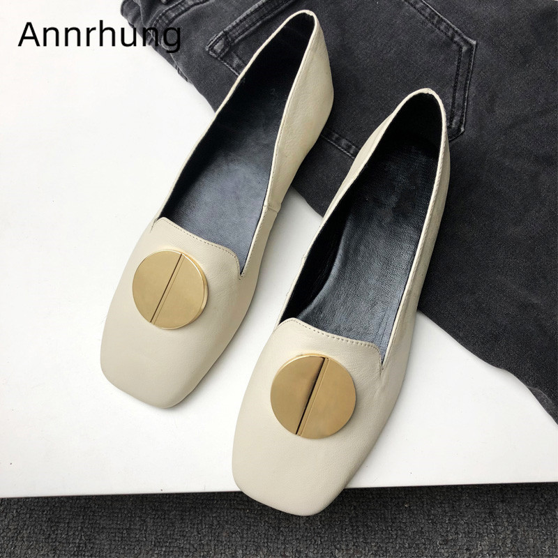 2019 New Metal Button Decor Women Loafers Square Toe Casual Shoes Concise Genuine Leather Flat OL Shoes Woman2019 New Metal Button Decor Women Loafers Square Toe Casual Shoes Concise Genuine Leather Flat OL Shoes Woman
