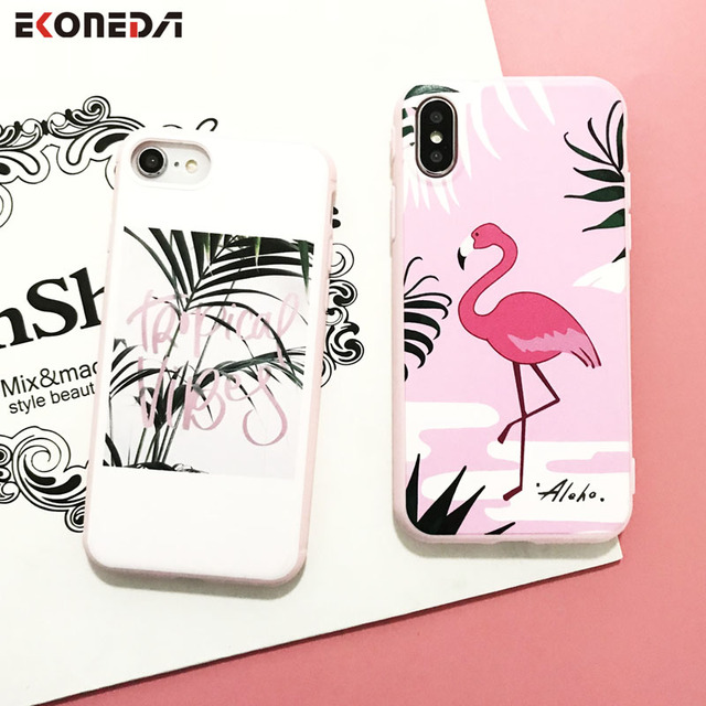 new styles 1718c d4255 US $2.46 35% OFF EKONEDA For iPhone 7 Plus Case Pink Flamingo Leaves  Pattern Cover Soft Silicone Phone Case For iPhone 6 6S 8 Plus X-in Fitted  Cases ...