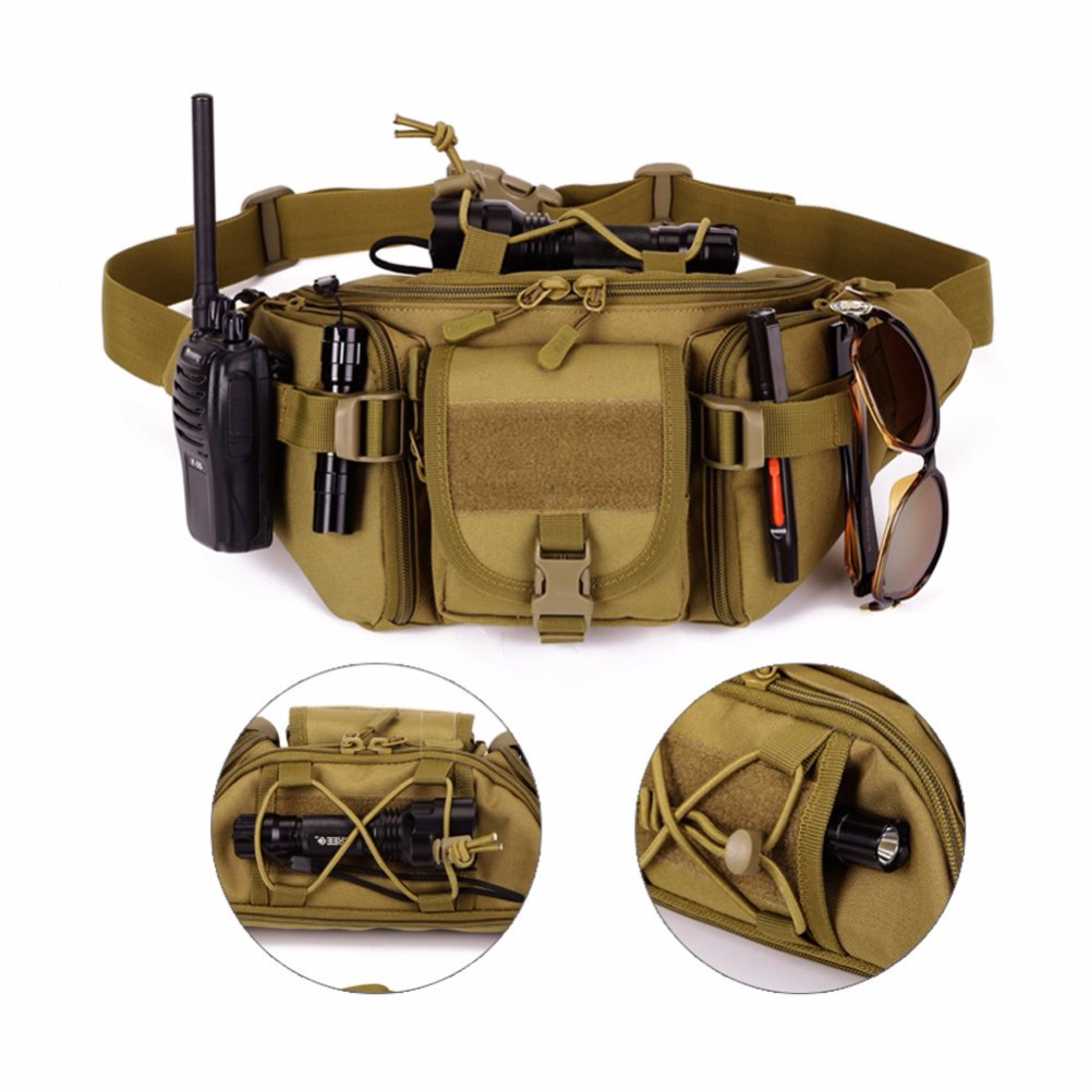 New Woemn and Mens Hip Pack Tactical Waist Packs Water Resistant Waist Bag Fanny Pack Belt Bag Hiking Climbing Outdoor Bumbag