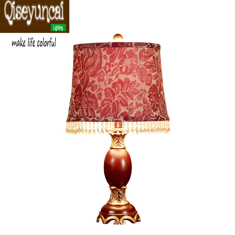 qiseyuncai 2018 chinese style living room red fabric table lamp wedding retro warm creative. Black Bedroom Furniture Sets. Home Design Ideas