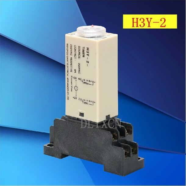 цена на 1 sets/lot H3Y-2 AC 220V Delay Timer Time Relay 0-10 Second with H3Y-2 Base