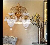 Бесплатная доставка! Европейский Роскошный Золотой Латунь Цвет E14 настенный светильник Гостиная настенный светильник lamparas де сравнению ап