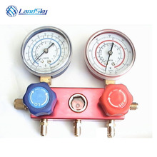 Copper double valve Table refrigerant refrigeration gauge set table Manifold Gauge Set A/C Air Conditioning 1/4SAE