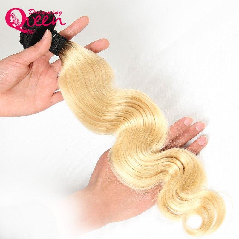 1b 613 Для тела волна Ombre бразильский Человеческие волосы ткань Ombre человеческих Наращивание волос Мечтая Queen Hair без Remy светлые волосы пучков