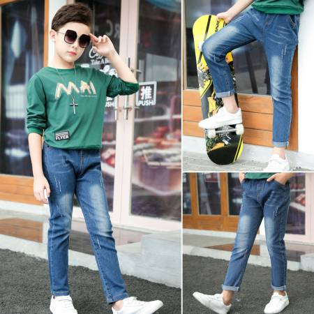 Boy 39 s jeans 2019 new denim pants for kids Korean pants for kids in Jeans from Mother amp Kids