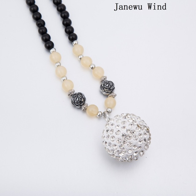 Janewu wind crystal ball pendant necklace women black beads long janewu wind crystal ball pendant necklace women black beads long chain mascot necklace female with aloadofball Images