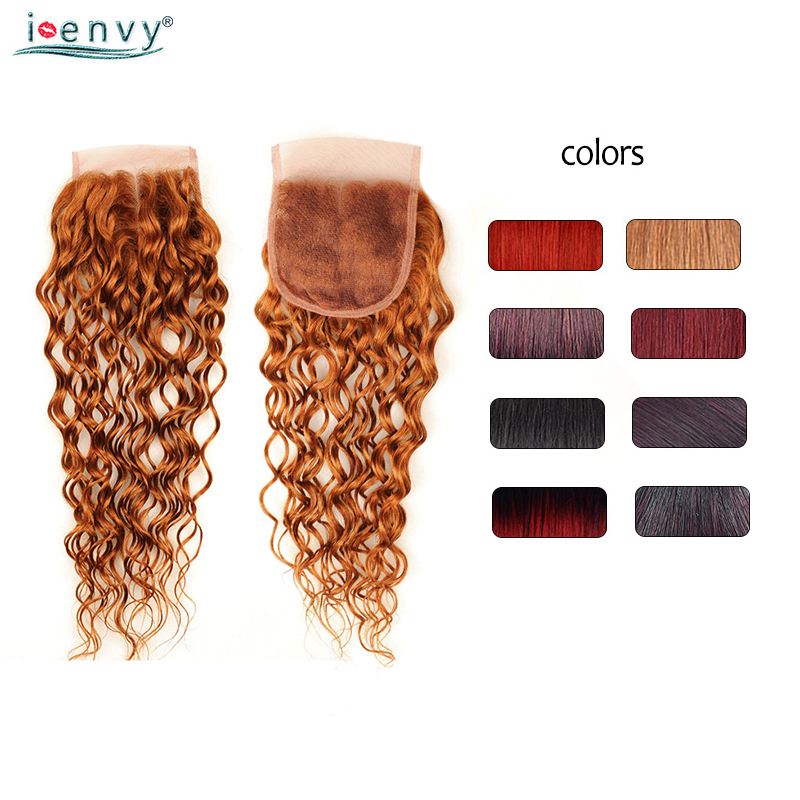 Ienvy Colored Closure 100% Human Hair Ombre Brazilian Water Wave Closure Red 99j Burgundy Lace Closure Blonde Hair Weave Nonremy
