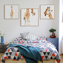 Bianche Wall Sell Sprout Giraffe Animal Watercolor Modern Canvas Painting Art Print Posters Picture for The Home Decoration