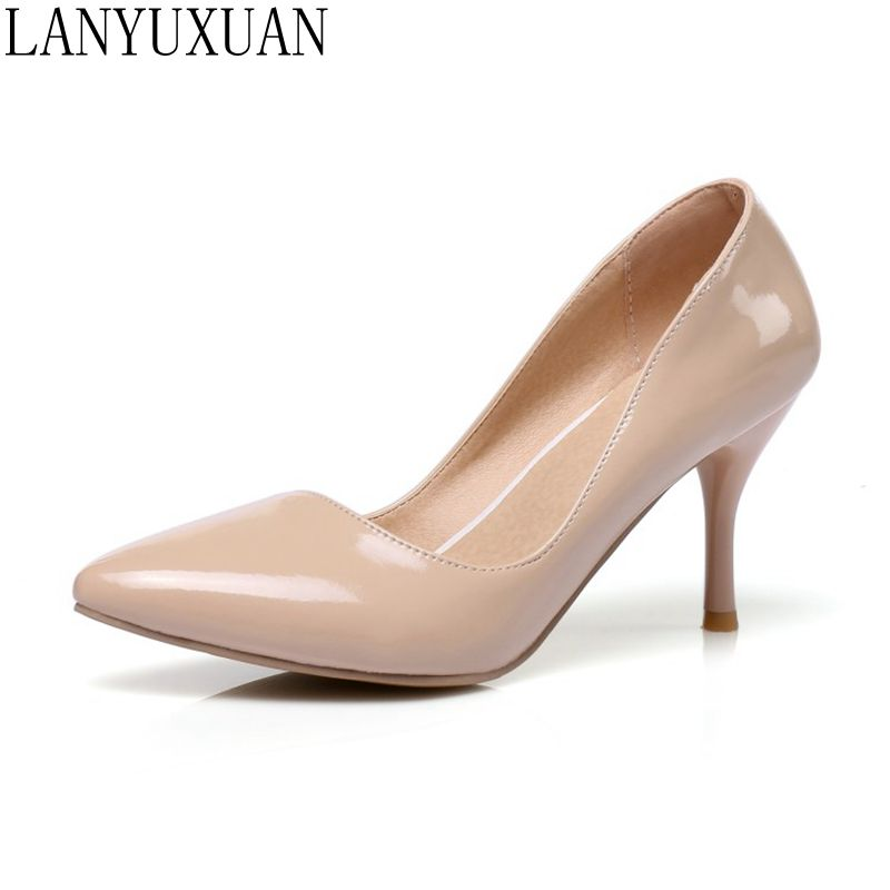 LANYUXUAN Plus Size 30-48 New Fashion Sexy Pointed Toe Women Pumps Platform High Heels Ladies Wedding Party Shoes Woman K3-1 plus big size 34 47 shoes woman 2017 new arrival wedding ladies high heel fashion sweet dress pointed toe women pumps a 3