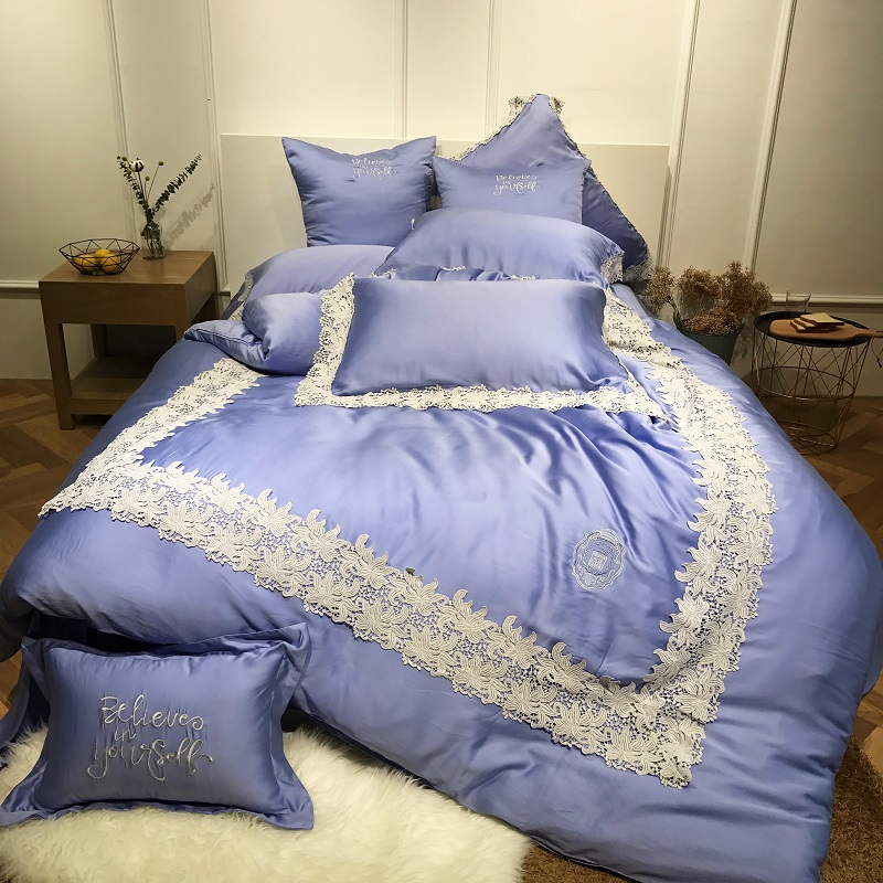 Blue Luxury Lace Embroidery 80S Tencel Comfortable Bedding Set King Queen Size Duvet Cover Bed Linen Bed Sheet Pillowcase 4/7pcs