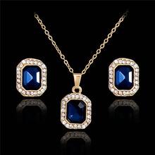 H: Hyde mujeres bijoux color azul colgante Pendientes de broche conjunto geométrico CZ rhinestone joyería conjuntos de joyeria