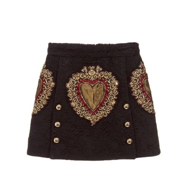 Женская винтажная трапециевидная юбка с вышивкой в виде черного сердца, Новинка лета 2020, модельная двубортная Женская вечерняя мини юбка, одежда