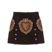 Vintage preto coração bordado uma linha saia feminina 2020 nova pista de verão duplo breasted feminino senhoras festa mini saia roupas