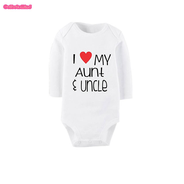 Culbutomind Newborn White I Love Uncle Aunt Baby Clothes Pure Cotton