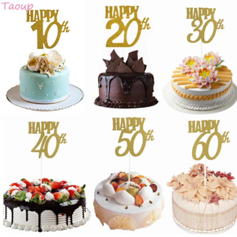 Taoup 10 20 30 40 50 60 Happy Birthday Cake Topper Wedding Decorating Supplies For
