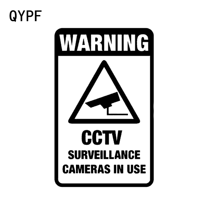 QYPF 10.3CM16.5CM CCTV SURVEILLANCE CAMERAS IN USE Warning Graphic Car Sticker Black/Silver Vinyl Decoration S9-2260