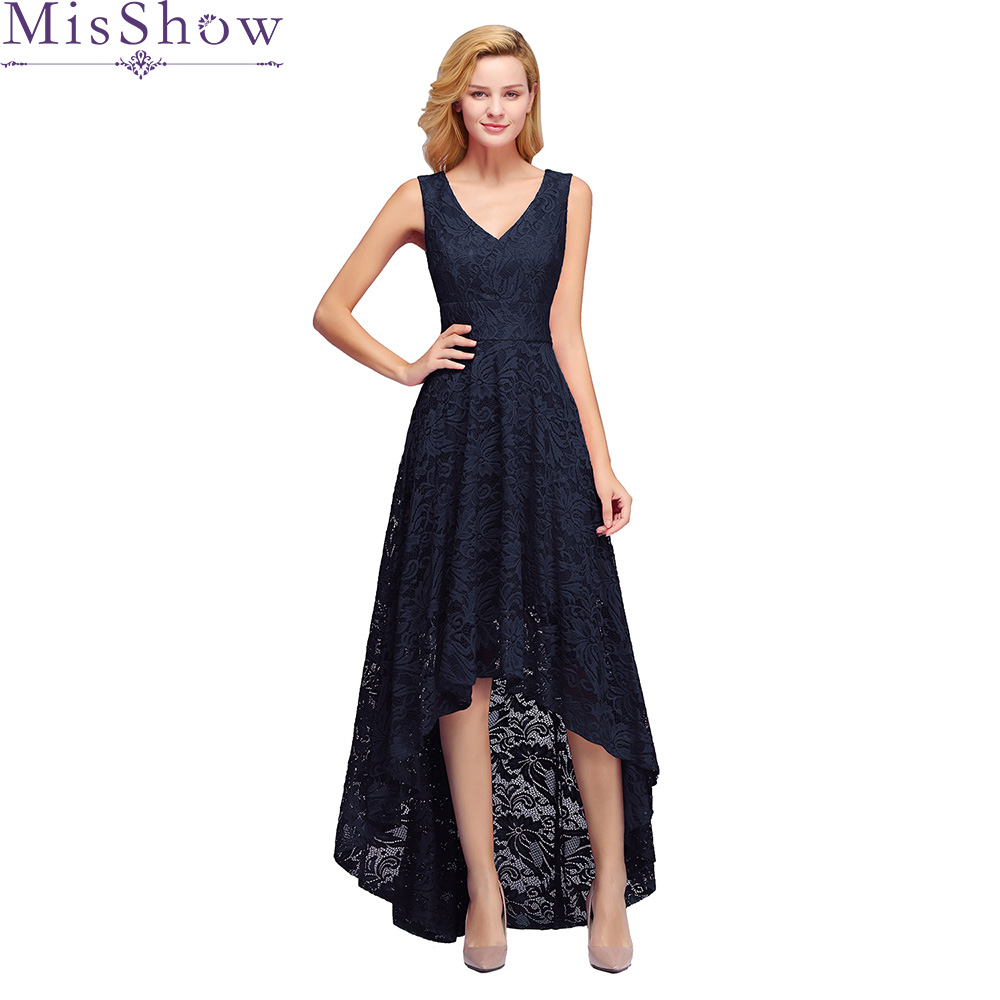 Elegant Women sleeveless Navy Blue Long   Cocktail     Dresses   Ladies V Neck Lace Elegant High low   Cocktail   Party Prom   Dresses   2019