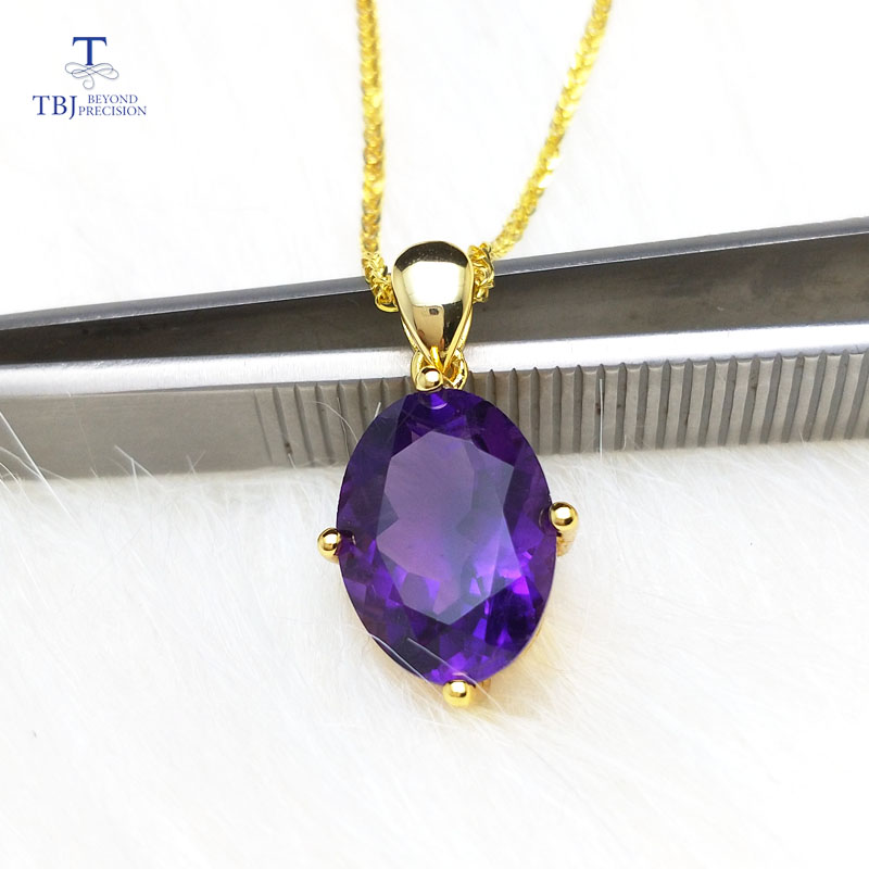 TBJ ,Simple pendant with natural african amethyst ov10*14 in 925 sterling silver yellow gold color,gemstone necklace for women TBJ ,Simple pendant with natural african amethyst ov10*14 in 925 sterling silver yellow gold color,gemstone necklace for women