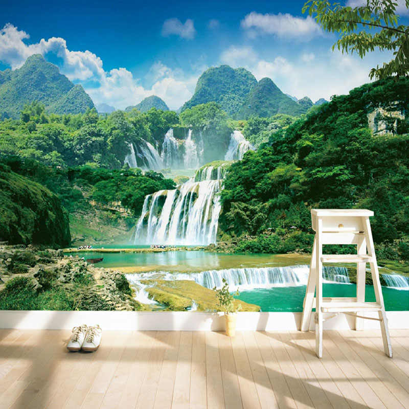 Kustom 3D Dinding Mural Wallpaper Pemandangan Alam Hijau Pegunungan Air Terjun 3D Bukan Tenunan Foto Kertas.jpg q50